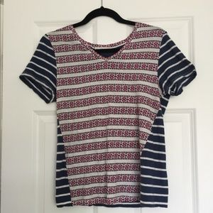 Nordstrom Blue and Pink Patterned Tee-Shirt
